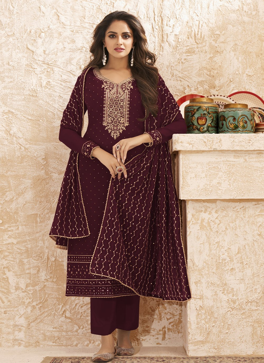 Faux Georgette Embroidered Wine Designer Straight Salwar Suit
