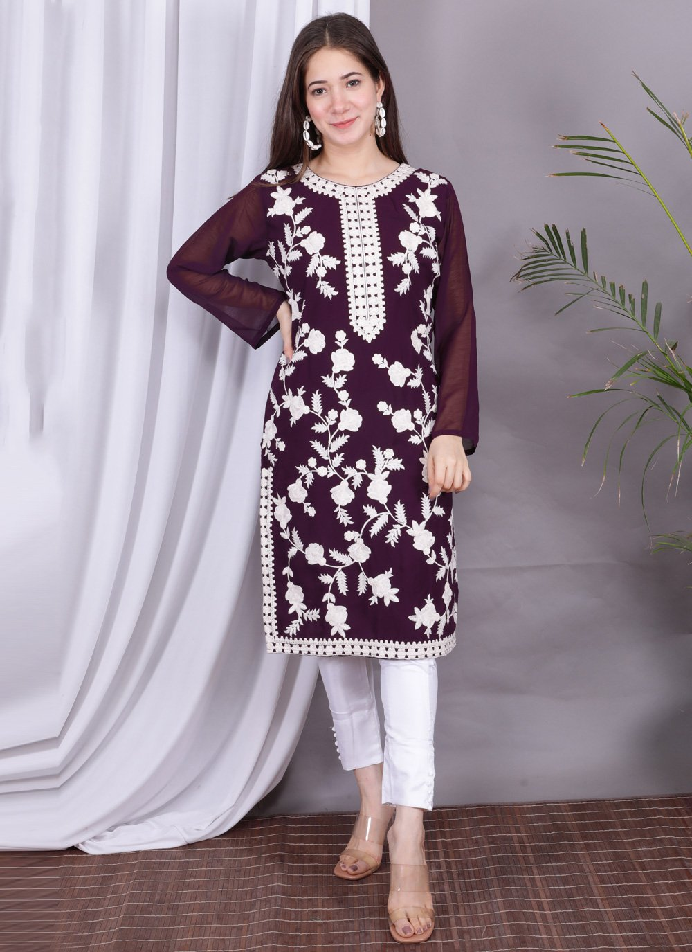 Faux Georgette Embroidered Wine Party Wear Kurti