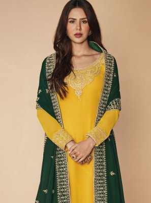 Faux Georgette Embroidered Yellow Designer Pakistani Salwar Suit