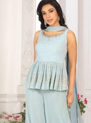 Faux Georgette Fancy Blue Designer Palazzo Salwar Kameez