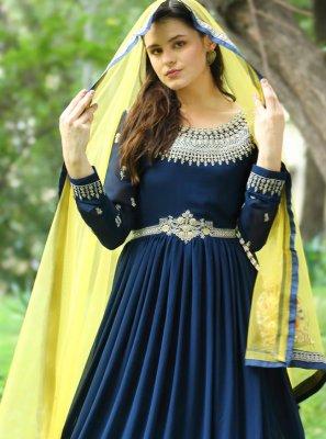 Faux Georgette Fancy Floor Length Anarkali Suit in Navy Blue