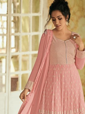 Faux Georgette Fancy Pink Floor Length Anarkali Suit