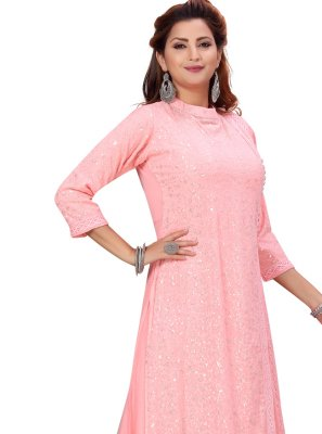 Faux Georgette Fancy Pink Party Wear Kurti