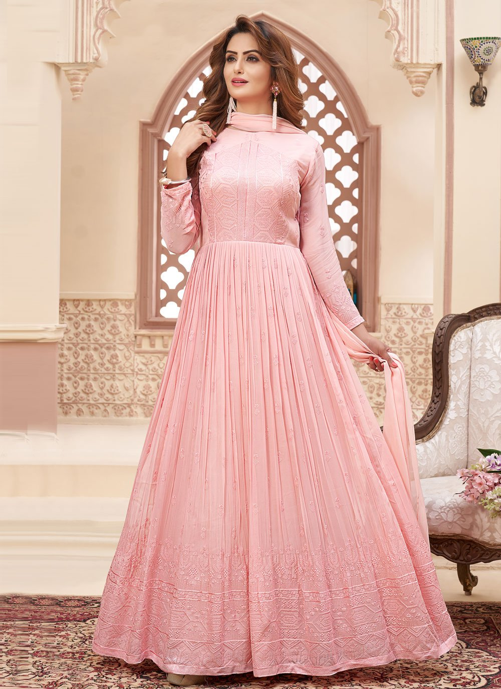 Faux Georgette Fancy Readymade Anarkali Suit in Pink