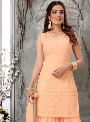 Faux Georgette Fancy Readymade Suit in Peach