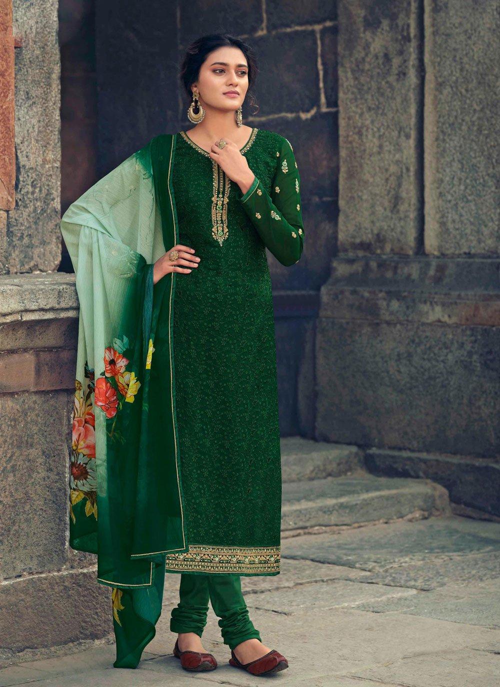 Faux Georgette Festival Designer Straight Salwar Suit