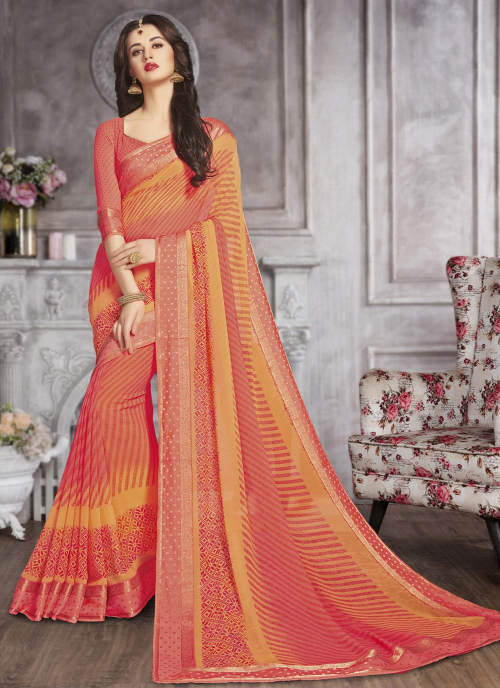 Faux Georgette Festival Printed Saree