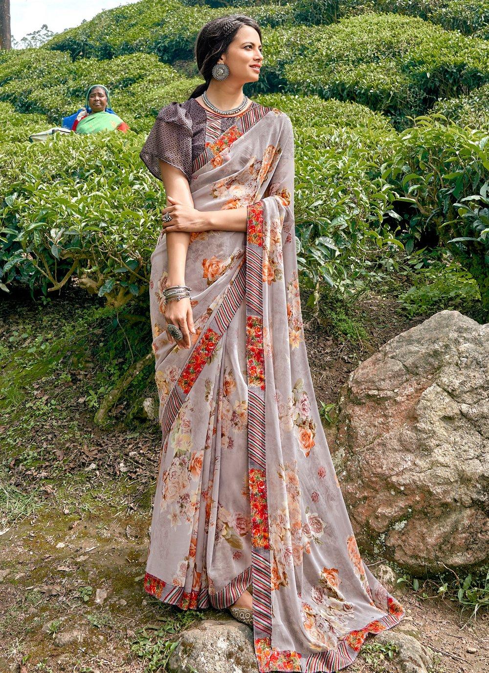 Faux Georgette Floral Print Multi Colour Printed Saree