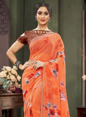 Faux Georgette Floral Print Traditional Saree
