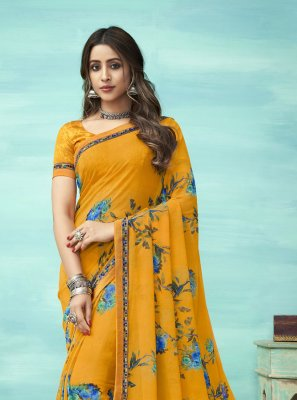 Faux Georgette Floral Print Yellow Casual Saree