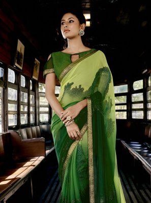 Faux Georgette Green Abstract Print Shaded Saree