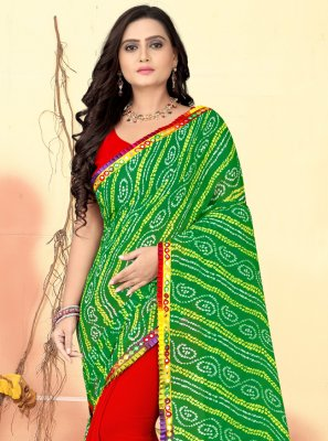 Faux Georgette Green and Red Half N Half  Saree