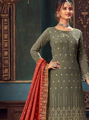 Faux Georgette Green Designer Pakistani Salwar Suit