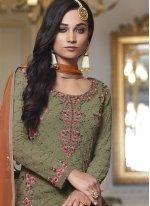 Faux Georgette Green Designer Pakistani Suit