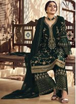Faux Georgette Green Designer Palazzo Salwar Kameez