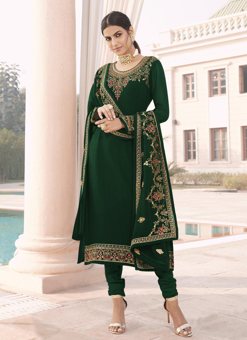 Faux Georgette Green Designer Straight Suit