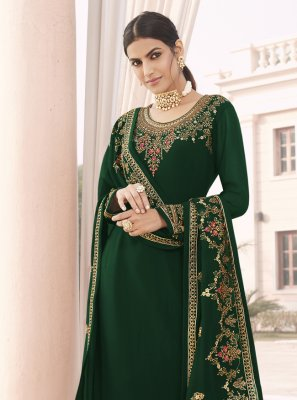 Faux Georgette Green Designer Straight Suit