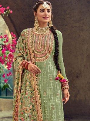 Faux Georgette Green Embroidered Designer Salwar Suit