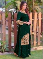 Faux Georgette Green Embroidered Long Choli Lehenga