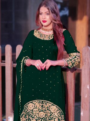 Faux Georgette Green Embroidered Long Choli Lehenga