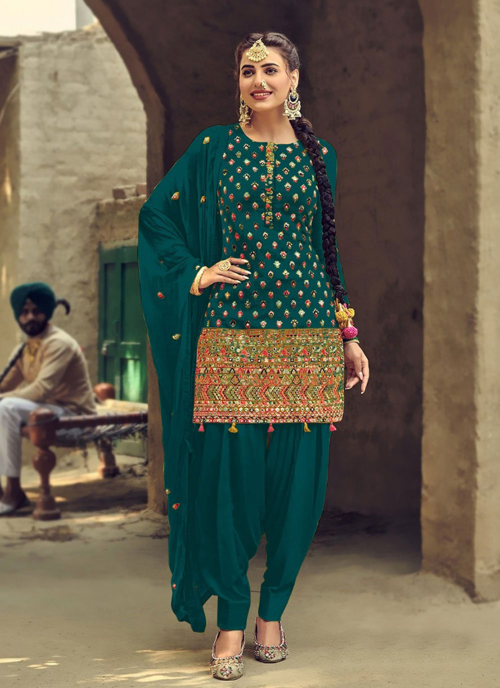 Faux Georgette Green Embroidered Patiala Suit