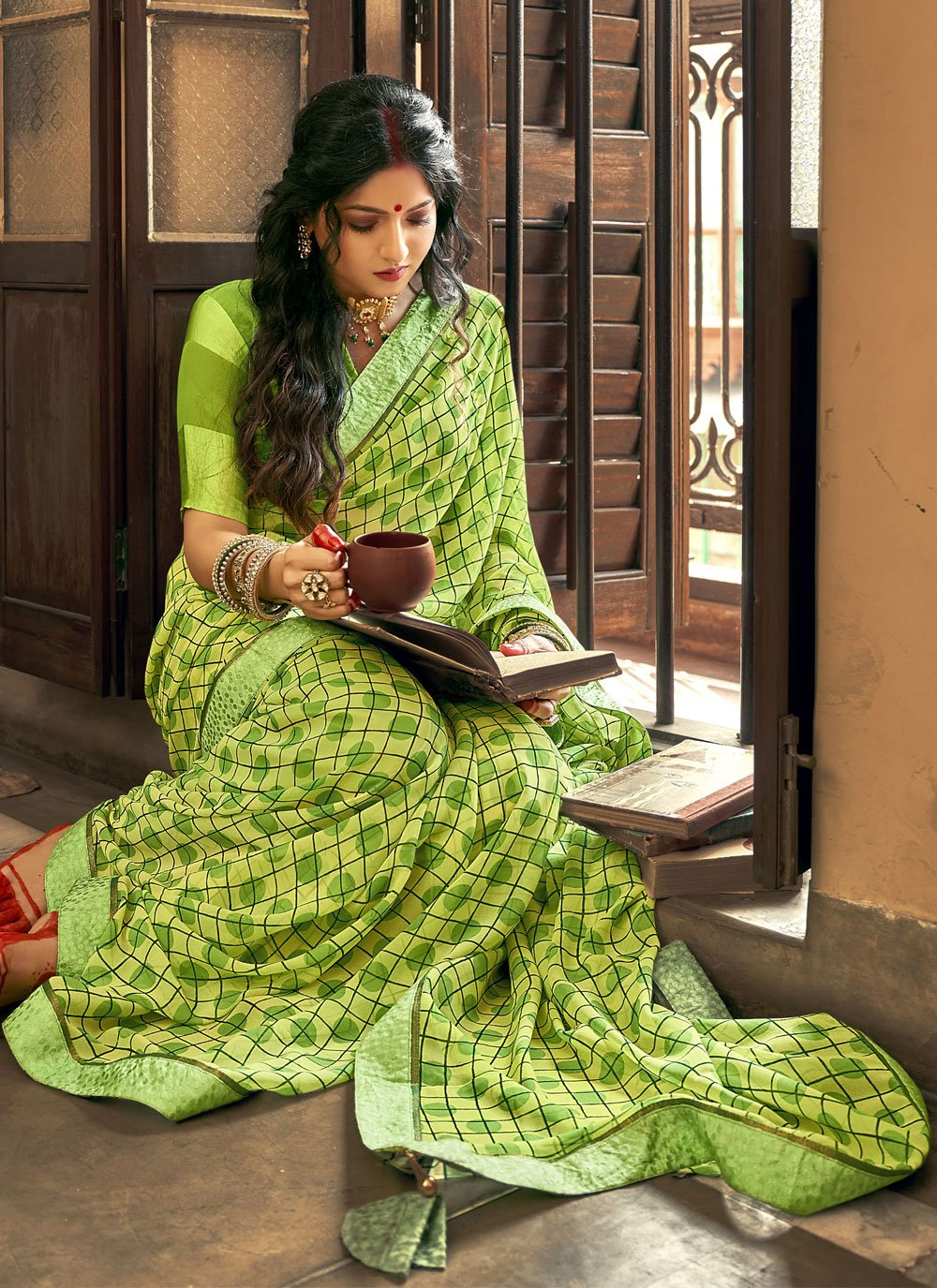 Faux Georgette Green Printed Saree