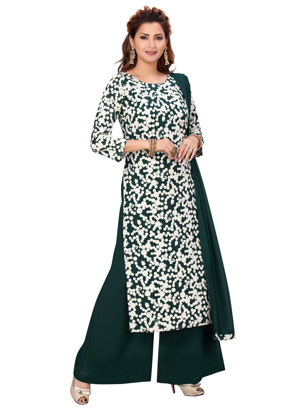 Faux Georgette Green Readymade Suit
