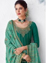 Faux Georgette Green Resham Designer Palazzo Suit