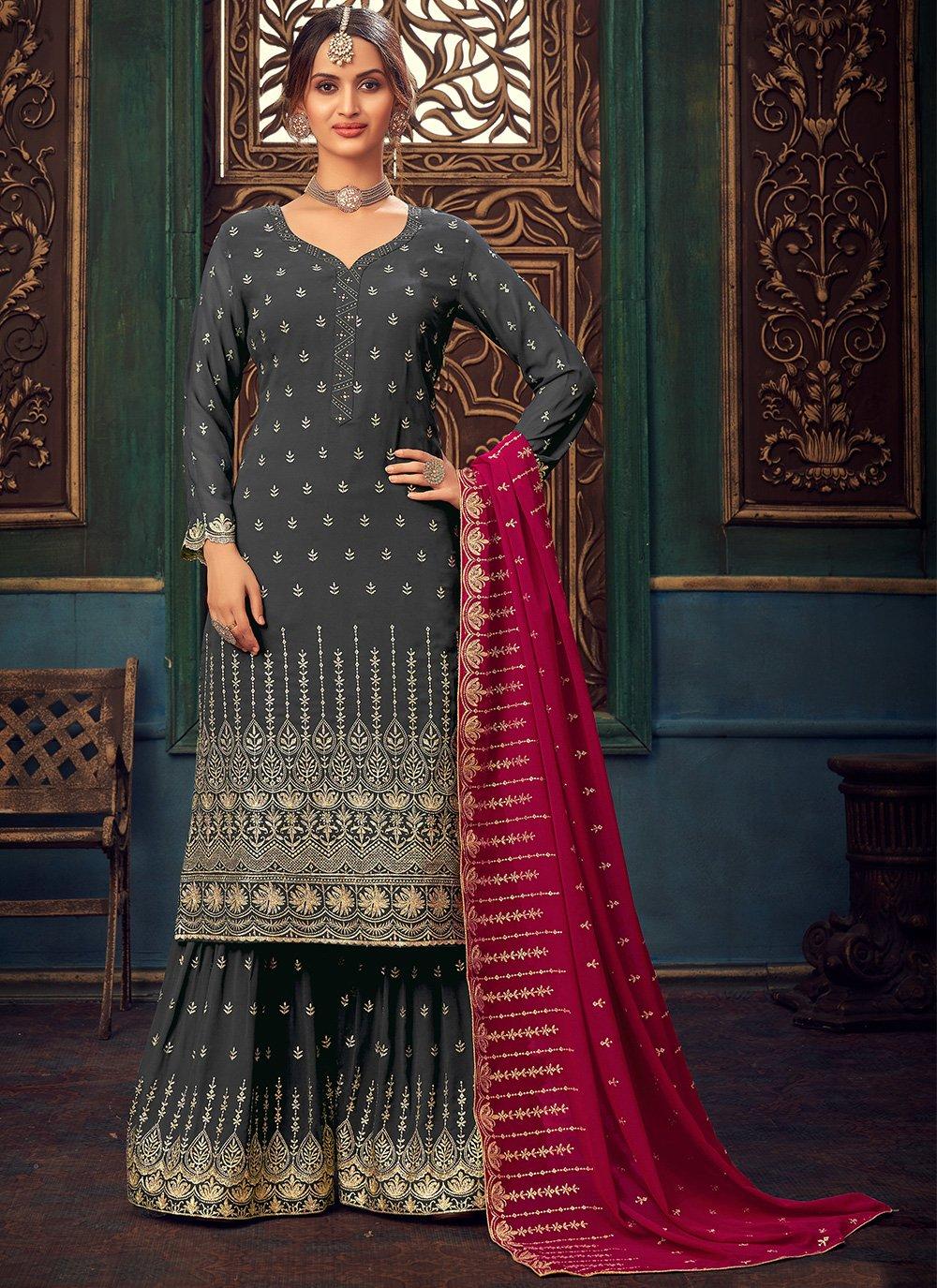 Faux Georgette Grey Embroidered Designer Pakistani Salwar Suit