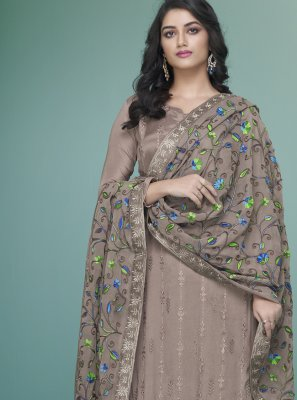 Faux Georgette Grey Readymade Suit