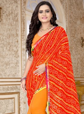 Faux Georgette Half N Half  Saree in Orange and Red