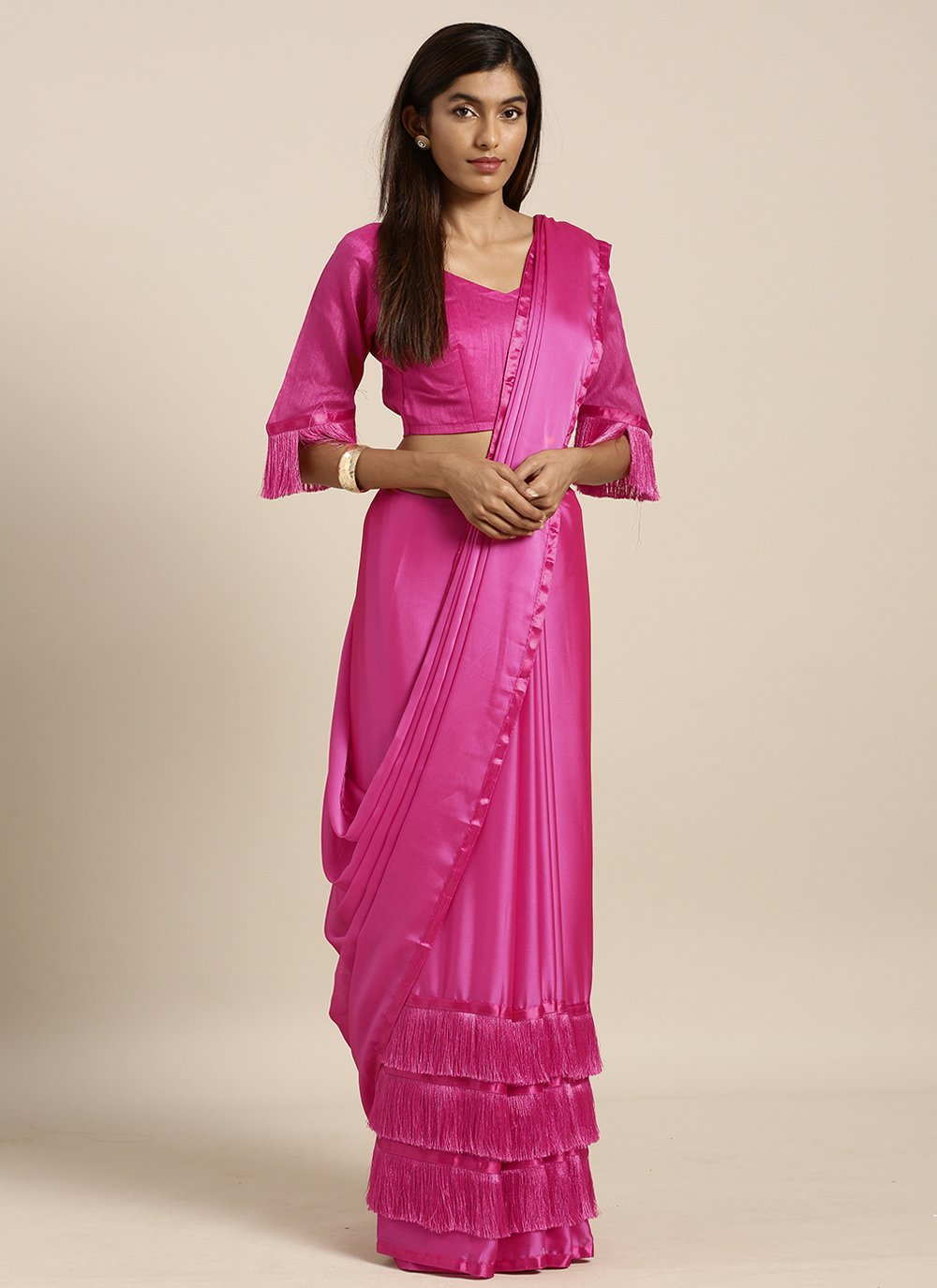 Faux Georgette Hot Pink Classic Designer Saree