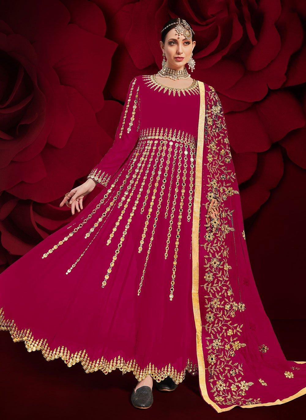 Faux Georgette Hot Pink Floor Length Anarkali Suit