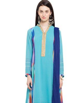 Faux Georgette Lace Aqua Blue Readymade Anarkali Salwar Suit