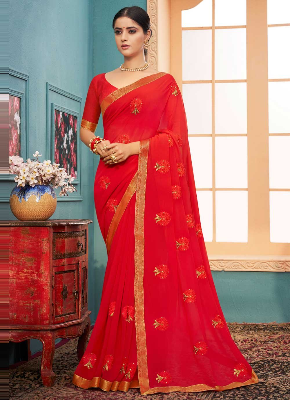 Faux Georgette Lace Red Classic Designer Saree