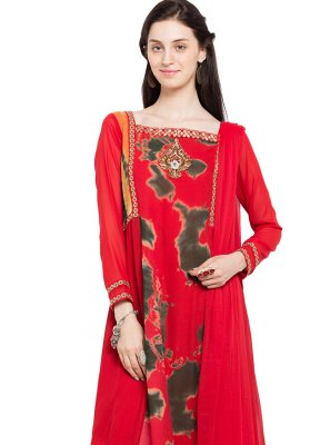 Faux Georgette Lace Red Readymade Anarkali Salwar Suit