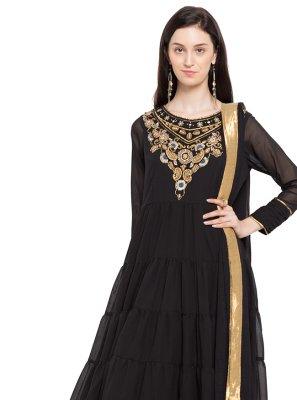 Faux Georgette Layered Anarkali Salwar Kameez in Black