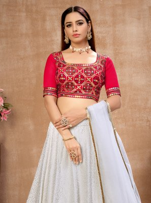 Faux Georgette Lehenga Choli in Off White