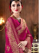 Faux Georgette Magenta Patch Border Classic Designer Saree