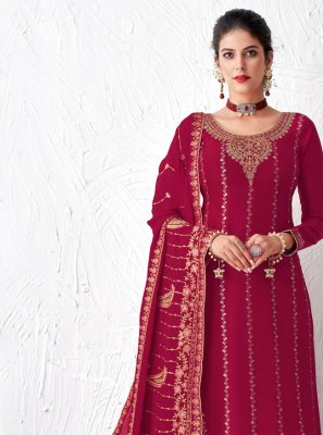 Faux Georgette Magenta Resham Designer Palazzo Suit