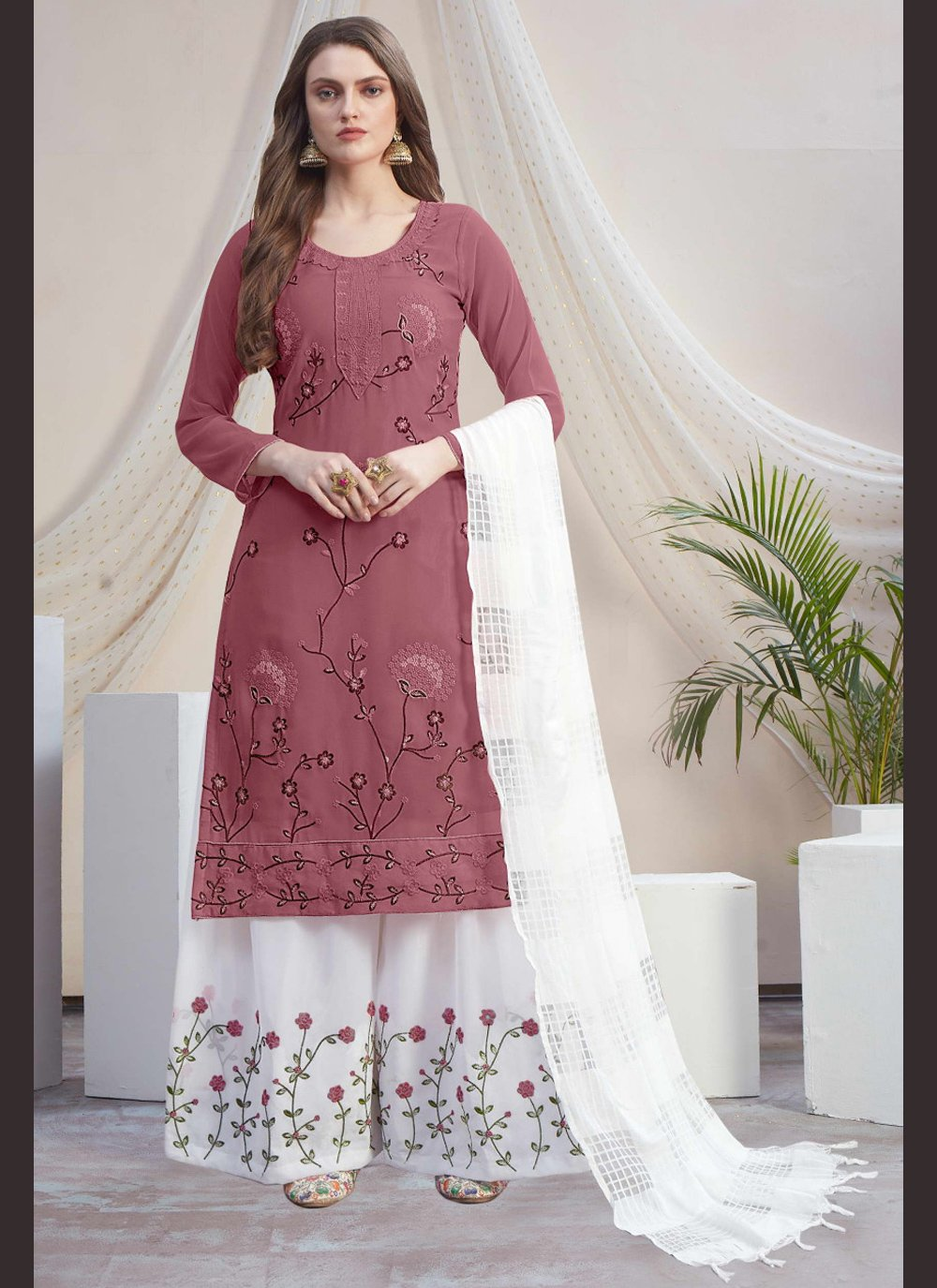 Faux Georgette Maroon and Off White Designer Palazzo Suit