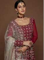 Faux Georgette Maroon and Off White Resham Floor Length Anarkali Suit