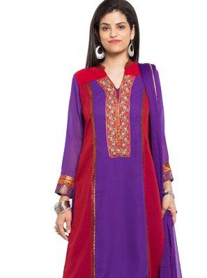Faux Georgette Maroon and Purple Embroidered Readymade Churidar Salwar Kameez