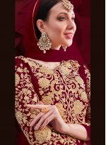 Faux Georgette Maroon Embroidered Anarkali Suit