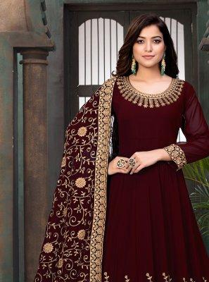 Faux Georgette Maroon Floor Length Anarkali Salwar Suit