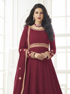 Faux Georgette Maroon Floor Length Anarkali Suit
