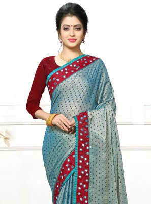 Faux Georgette Mirror Blue Trendy Saree