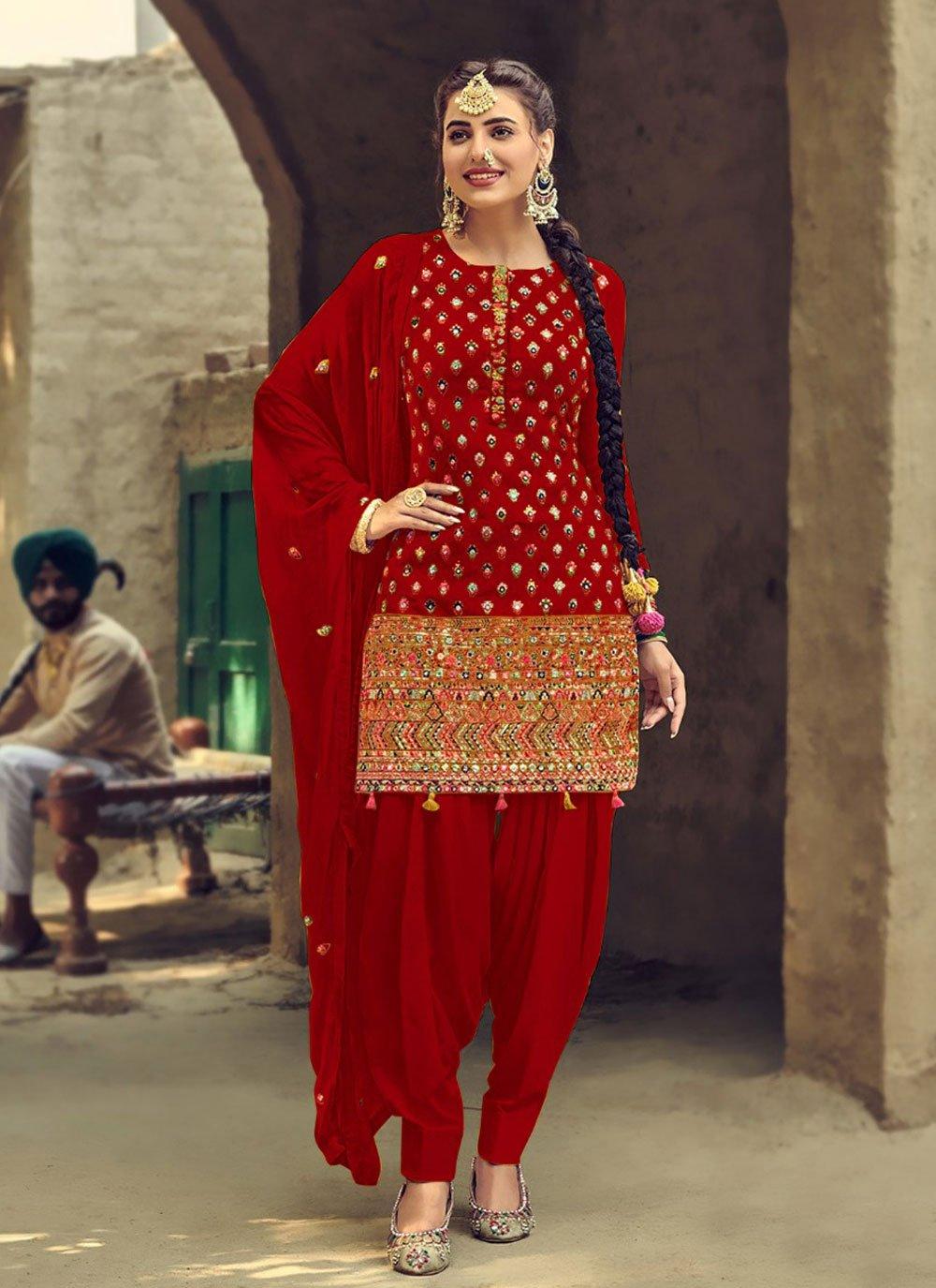 Faux Georgette Mirror Red Patiala Suit