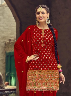 Faux Georgette Mirror Red Patiala Suit