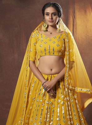 Faux Georgette Mirror Yellow Lehenga Choli